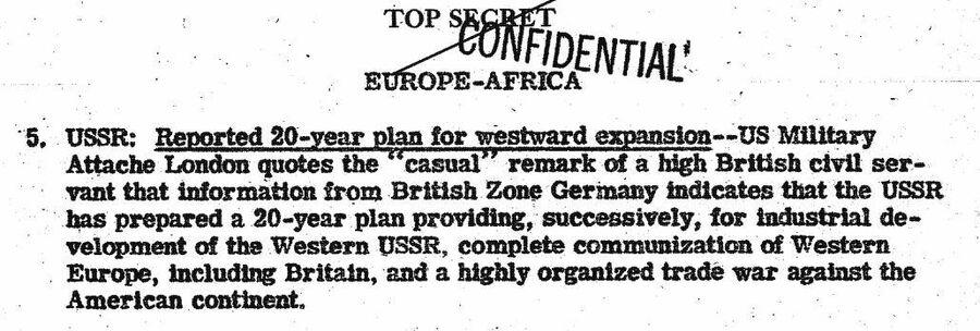 Фрагмент сводки ЦРУ от 1 августа 1946 года о 20-летнем плане советизации Европы