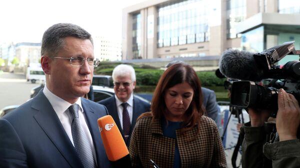Министр энергетики РФ Александр Новак после трехсторонних консультаций в формате Россия-ЕС-Украина в Брюсселе