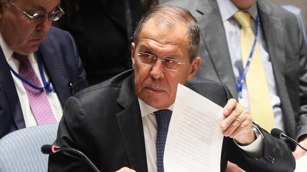 Министр иностранных дел РФ Сергей Лавров на заседании Совета безопасности  в рамках 74-й сессии Генеральной Ассамблеи ООН