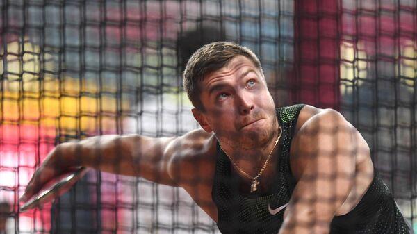 Российский спортсмен Алексей Худяков в квалификационных соревнованиях по метанию молота среди мужчин на чемпионате мира по легкой атлетике 2019 в Дохе.