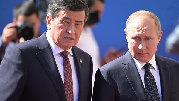 Президент РФ Владимир Путин и президент Киргизии Сооронбай Жээнбеков в Ереване, Армения. 1 октября 2019