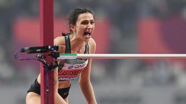 Российская спортсменка Мария Ласицкене в финальных соревнованиях по прыжкам в высоту среди женщин на чемпионате мира по легкой атлетике 2019 в Дохе.