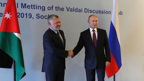Президент РФ Владимир Путин и король Иорданского хашимитского королевства Абдалла II бен Аль-Хусейн во время встречи в Сочи