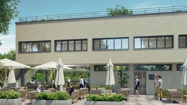 Проект концептуального кафе в отреставрированном коммунальном корпусе дома Наркомфина в Москве