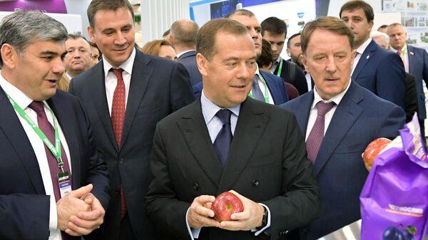 Председатель правительства РФ Дмитрий Медведев во время посещения 21-й Российской агропромышленной выставки Золотая осень на ВДНХ