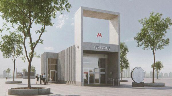 Проект наземного павильона строящейся станции московского метро Мнёвники