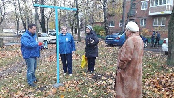 Депутат Тульской городской Думы Олег Погорелов оборудовал площадку для сушки белья