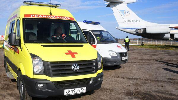 Машины скорой помощи в аэропорту в Москве