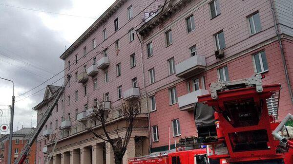 Пожар в шахте лифта многоэтажного дома в Красноярске