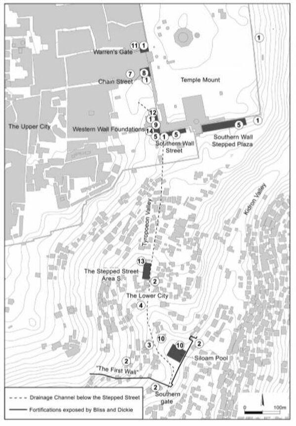 Карта раскопок с нанесенной пунктиром древней дорогой