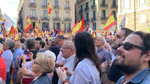 Митинг сторонников сохранения Каталонии в составе Испании из Барселоны. 20 октября 2019