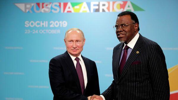 Президент РФ Владимир Путин и президент республики Намибии Хаге Готфрид Гейнгоб во время встречи на полях саммита Россия - Африка