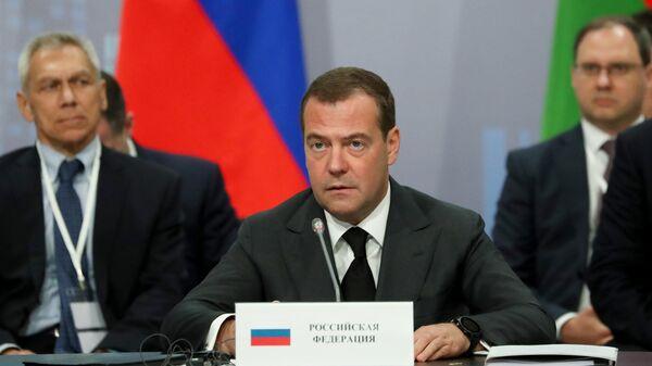 Председатель правительства РФ Дмитрий Медведев выступает на заседании Евразийского межправительственного совета в расширенном составе