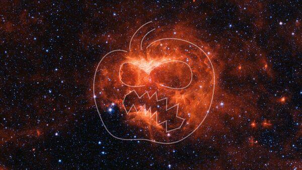 Инфракрасное изображение туманности Светильник Джека (Jack-o'-lantern), сделанное космическим телескопом НАСА Спитцер
