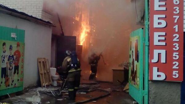 Пожар в торговых рядах   в городе Петушки Владимирской области