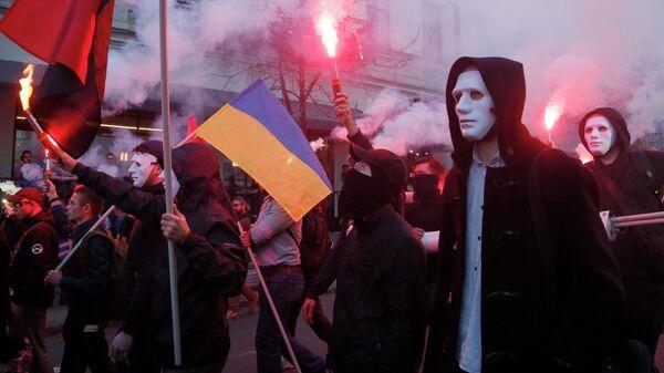 Участники акции протеста националистов в Киеве