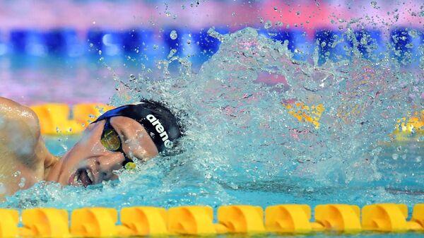Илья Бородин (Россия) в соревнованиях по плаванию на дистанции 400 м комплексом среди мужчин на VI этапе Кубка мира по плаванию в Казани.