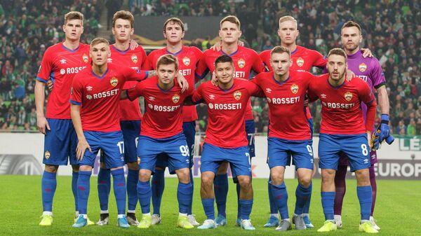 Футболисты ЦСКА перед началом матча с Ференцварошем в Лиге Европы