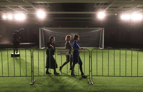 Инсталляция Футбольное поле на выставке Дейнека/Самохвалов в рамках VIII Санкт-Петербургского международного культурного форума в центральном выставочном зале Манеж в Санкт-Петербурге