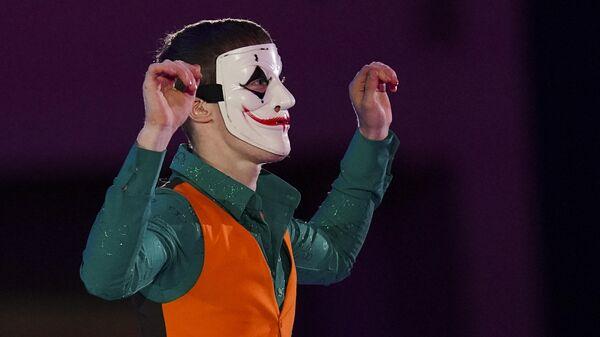 Александр Самарин (Россия) на показательных выступлениях V этапа Гран-при по фигурному катанию.