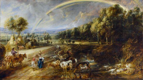 Картина Пейзаж с радугой