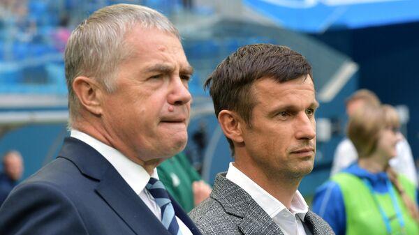 Президент ФК Зенит Александр Медведев и главный тренер Сергей Семак