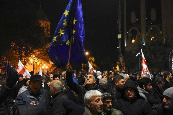Участники акции протеста в Тбилиси