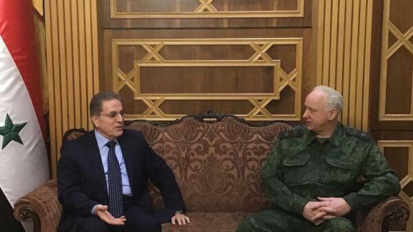Председатель Следственного комитета Российской Федерации Александр Бастрыкин во время встречи с министром юстиции Сирии Хишамом Аш-Шааром