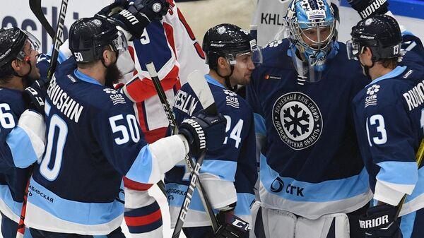 Игроки ХК Сибирь радуются победе