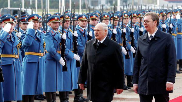 Президент Белоруссии Александр Лукашенко и президент Сербии Александр Вучич в Белграде. 3 декабря 2019