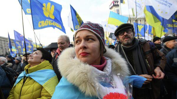 Массовый митинг под названием Красные линии для ZE  приуроченный к саммиту Нормандской четверки проходит на Майдане независимости в Киеве. 8 декабря 2019