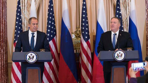 Совместная пресс-конференция Сергея Лаврова и госсекретаря США Майка Помпео по итогам переговоров в Вашингтоне