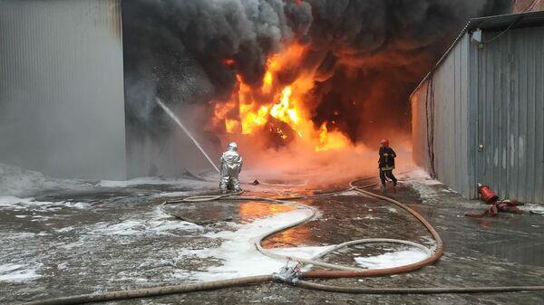 Пожар на территории производственной площадки