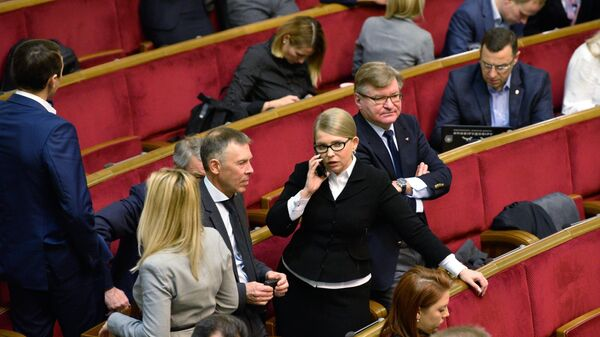 Лидер политической партии Батькивщина Юлия Тимошенко на заседании Верховной рады Украины в Киеве