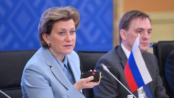 Глава Роспотребнадзора Анна Попова выступает с докладом на совещании глав служб государств-членов ШОС, отвечающих за обеспечение санитарно-эпидемиологического благополучия. 16 декабря 2019