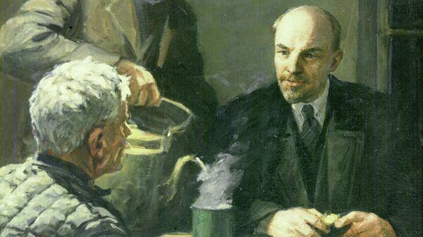 Репродукция картины В.И. Ленин у рабочих путиловцев в ночь на 29 октября 1917 года работы художника Юрия Белова