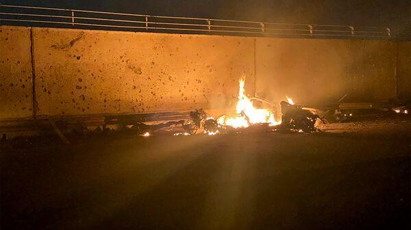 Фрагмент автомобиля, в котором погиб иранский генерал Касем Сулеймани при обстреле американскими ракетами международного аэропорта Багдада