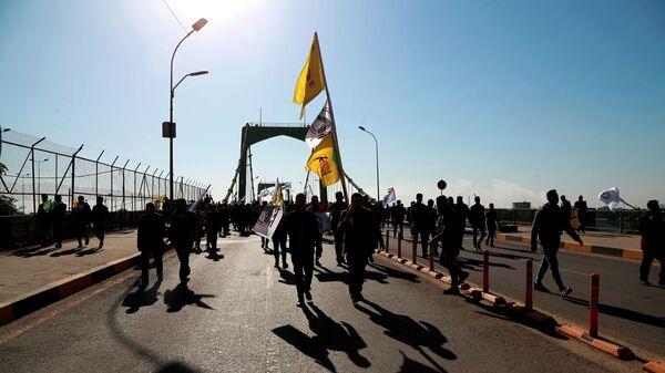 Поддерживаемые Ираном Народные народные силы самообороны Ирака в Зеленой зоне, где находится правительство Ирака и посольство США, в Багдаде, Ирак