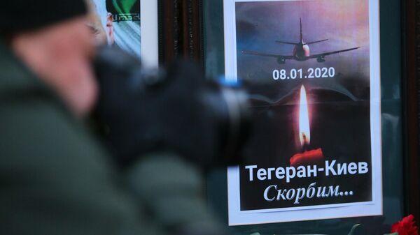 Цветы у посольства Ирана в Киеве в память о погибших в результате крушения пассажирского лайнера Украины Boeing 737-800 в Тегеране.  8 января 2019