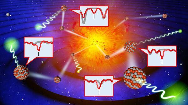 Концептуальная схема исследования. Различные тяжелые металлы с уникальными сигнатурами длин волн образуются при взрыве после слияния двойных нейтронных звезд. Эти металлы затем включаются во вновь формирующиеся звезды, где сегодня наблюдаются их подписи