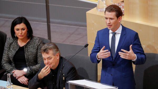 Канцлер Австрии Себастьян Курц во время выступления на заседании парламента