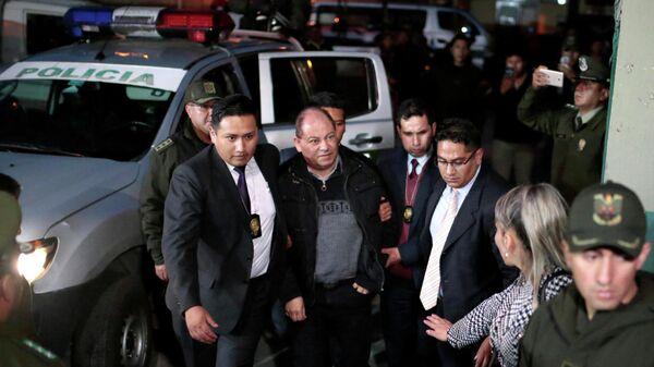 Бывший глава МВД Боливии Карлос Ромеро после задержания в Ла-Пасе. 14 января 2020