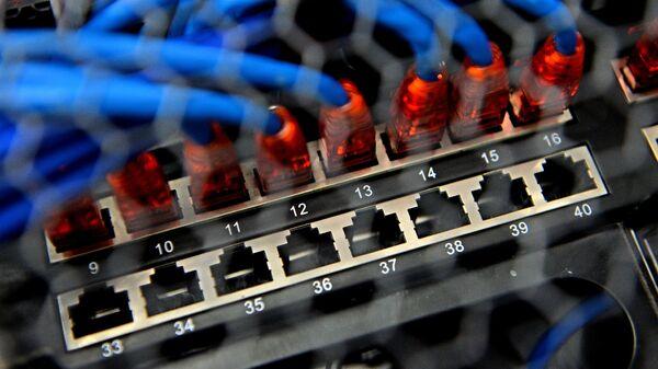 Сервер в машинном зале в региональном опорном центре обработки данных