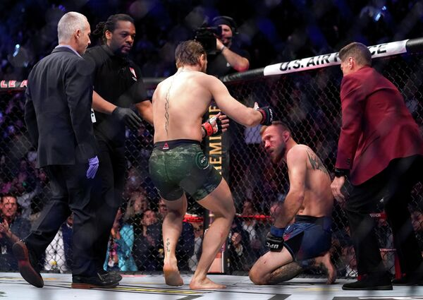 MMA Mixed Martial Arts - UFC 246 - Welterweight - Conor McGregor v Donald Cerrone - T-Mobile Arena, Las Vegas, United States - January 18, 2020  Conor McGregor with Donald Cerrone after their fight  REUTERS/Mike Blake