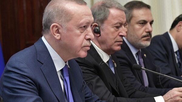 Президент Турции Реджеп Тайип Эрдоган на Международной конференции по Ливии в Берлине