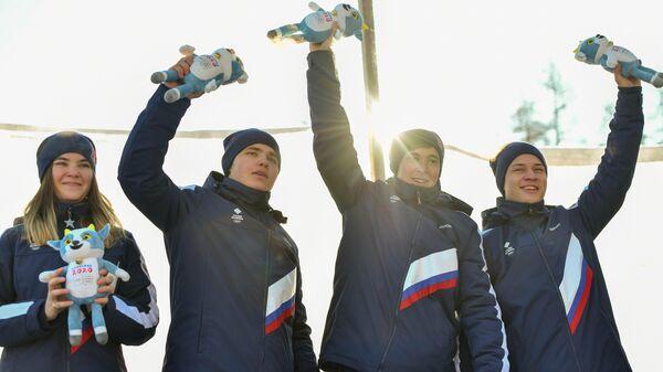 Российские саночники после выступления на ЮОИ-2020