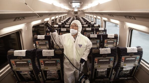 Обработка вагона поезда дезинфицирующим средством на станции Сусео в Сеуле, Южная Корея