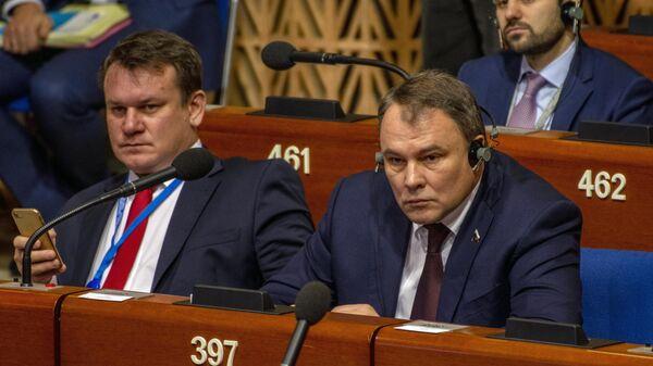 Заместитель председателя Государственной Думы РФ Петр Толстой на заседании зимней сессии ПАСЕ