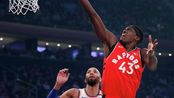 Jan 24, 2020; New York, New York, USA;  Toronto Raptors forward Pascal Siakam (43) drives to the basket against New York Knicks center Taj Gibson (67) during the first half at Madison Square Garden. Mandatory Credit: Noah K. Murray-USA TODAY Sports