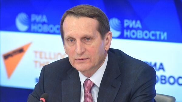 Председатель Российского исторического общества Сергей Нарышкин на пресс-конференции в МИА Россия Сегодня